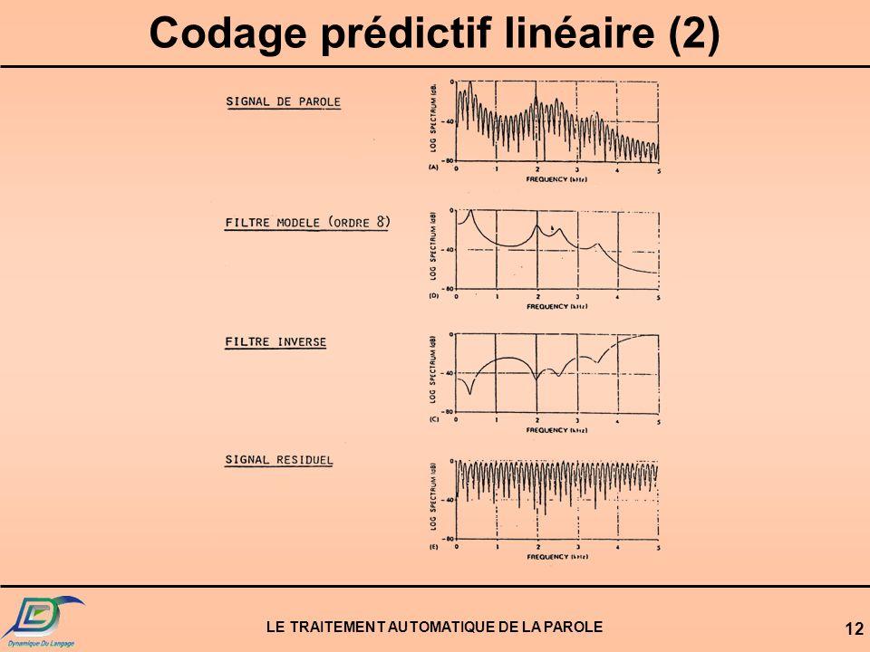 Codage prédictif linéaire (2) LE TRAITEMENT AUTOMATIQUE DE LA PAROLE