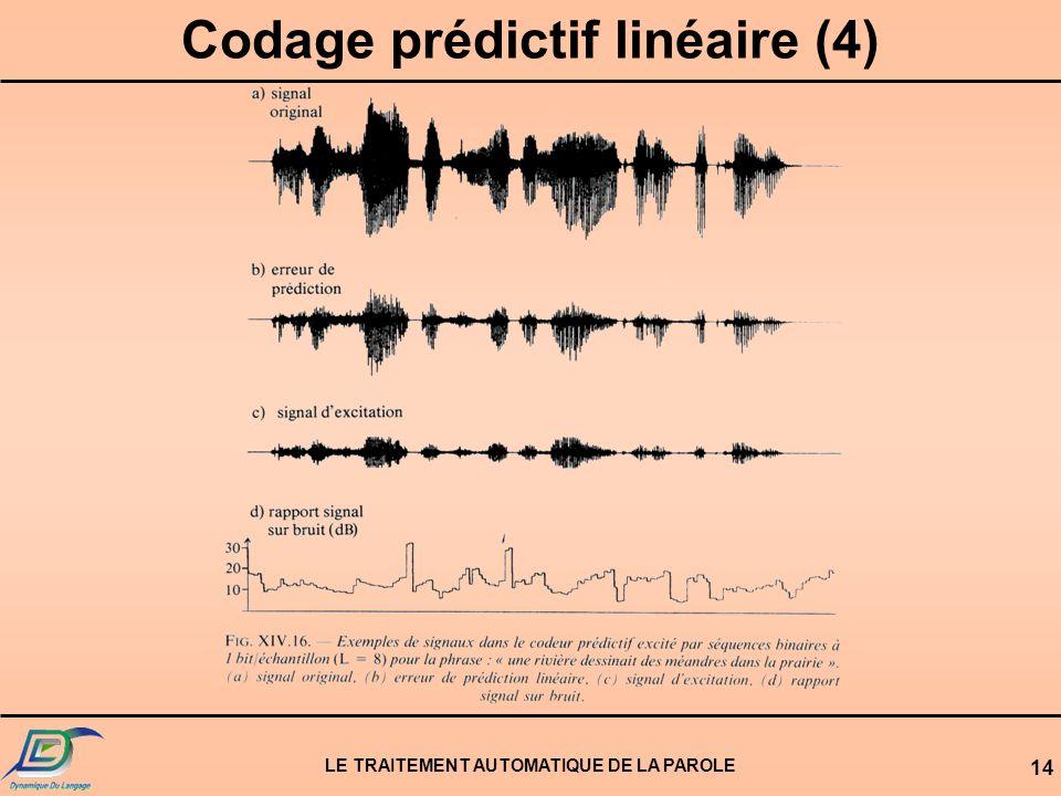 Codage prédictif linéaire (4) LE TRAITEMENT AUTOMATIQUE DE LA PAROLE