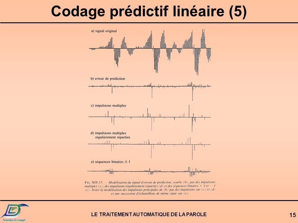 Codage prédictif linéaire (5) LE TRAITEMENT AUTOMATIQUE DE LA PAROLE