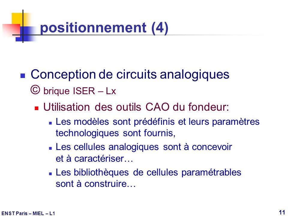 positionnement (4) Conception de circuits analogiques © brique ISER – Lx. Utilisation des outils CAO du fondeur: