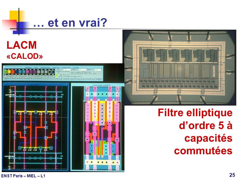 … et en vrai LACM Filtre elliptique d'ordre 5 à capacités commutées