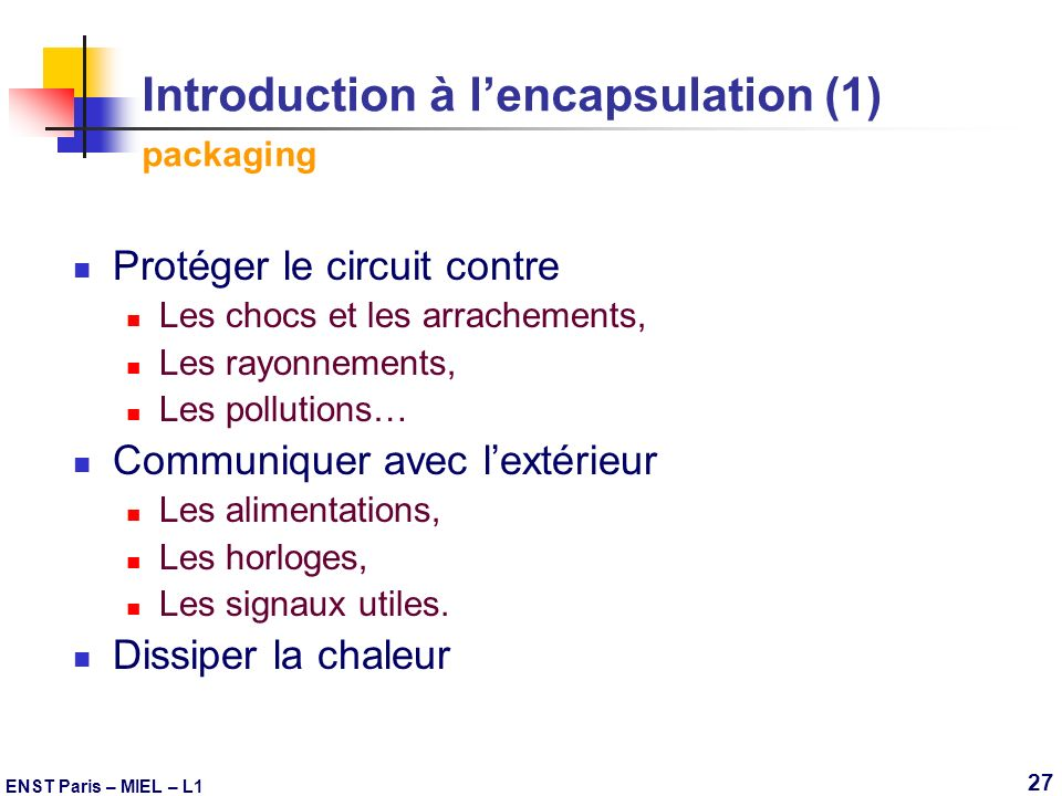 Introduction à l'encapsulation (1) packaging