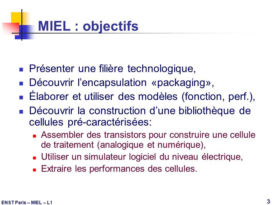 MIEL : objectifs Présenter une filière technologique,