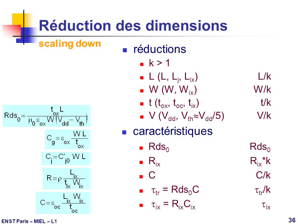 Réduction des dimensions scaling down