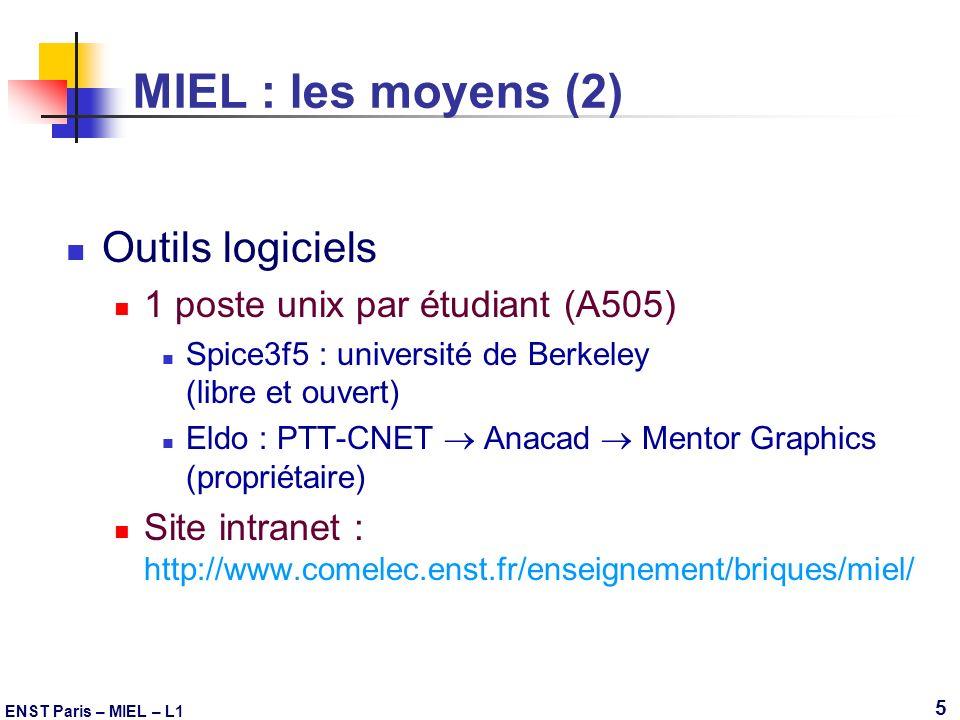MIEL : les moyens (2) Outils logiciels
