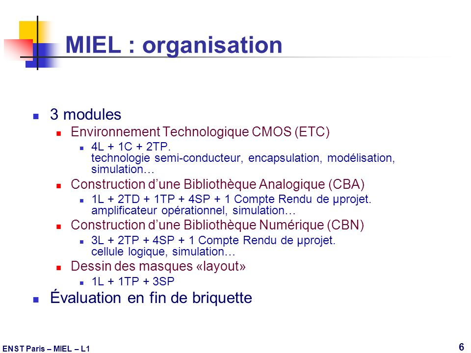 MIEL : organisation 3 modules Évaluation en fin de briquette