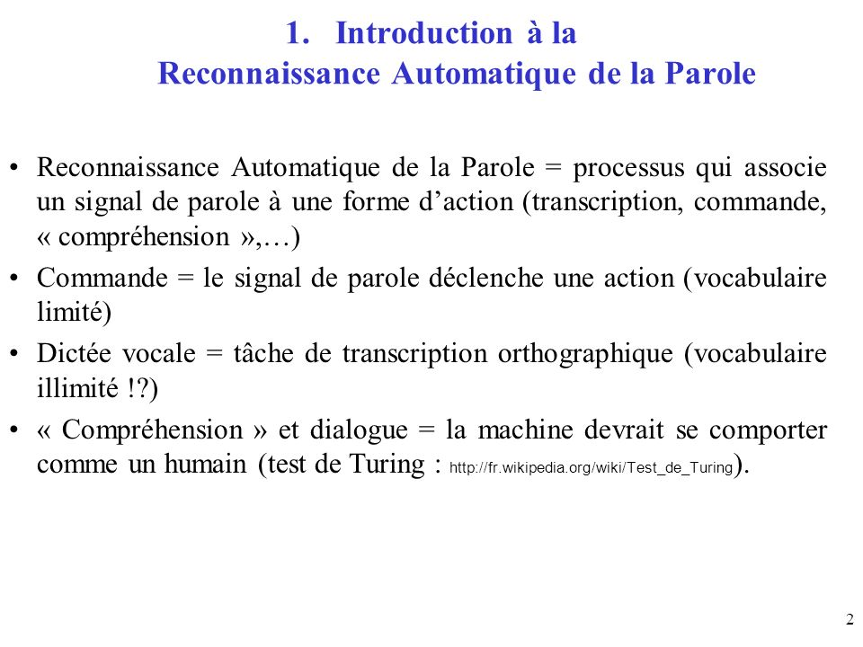 Introduction à la Reconnaissance Automatique de la Parole