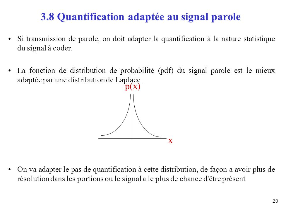 3.8 Quantification adaptée au signal parole