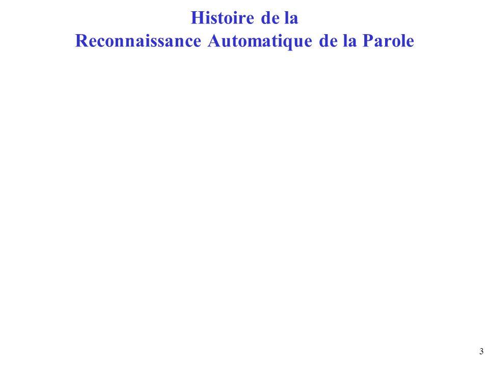 Histoire de la Reconnaissance Automatique de la Parole