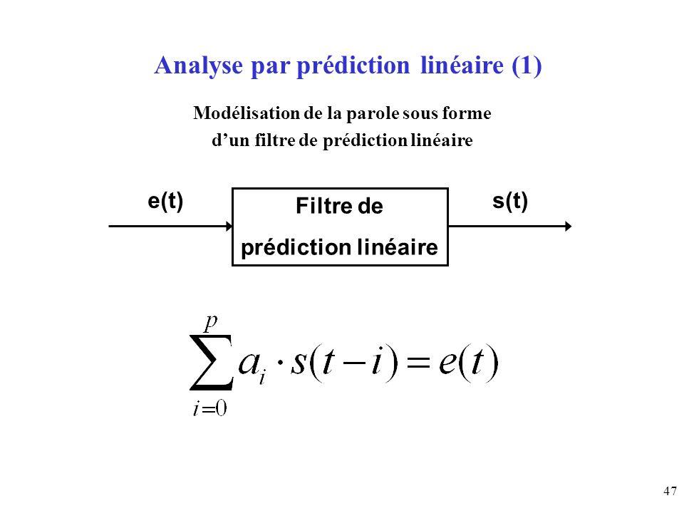 Analyse par prédiction linéaire (1)