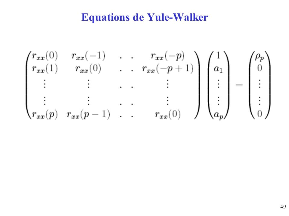 Equations de Yule-Walker