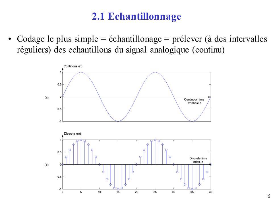 2.1 EchantillonnageCodage le plus simple = échantillonage = prélever (à des intervalles réguliers) des echantillons du signal analogique (continu)