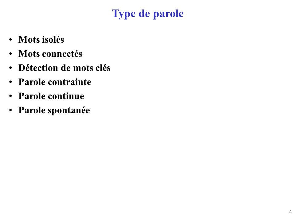 Type de parole Mots isolés Mots connectés Détection de mots clés