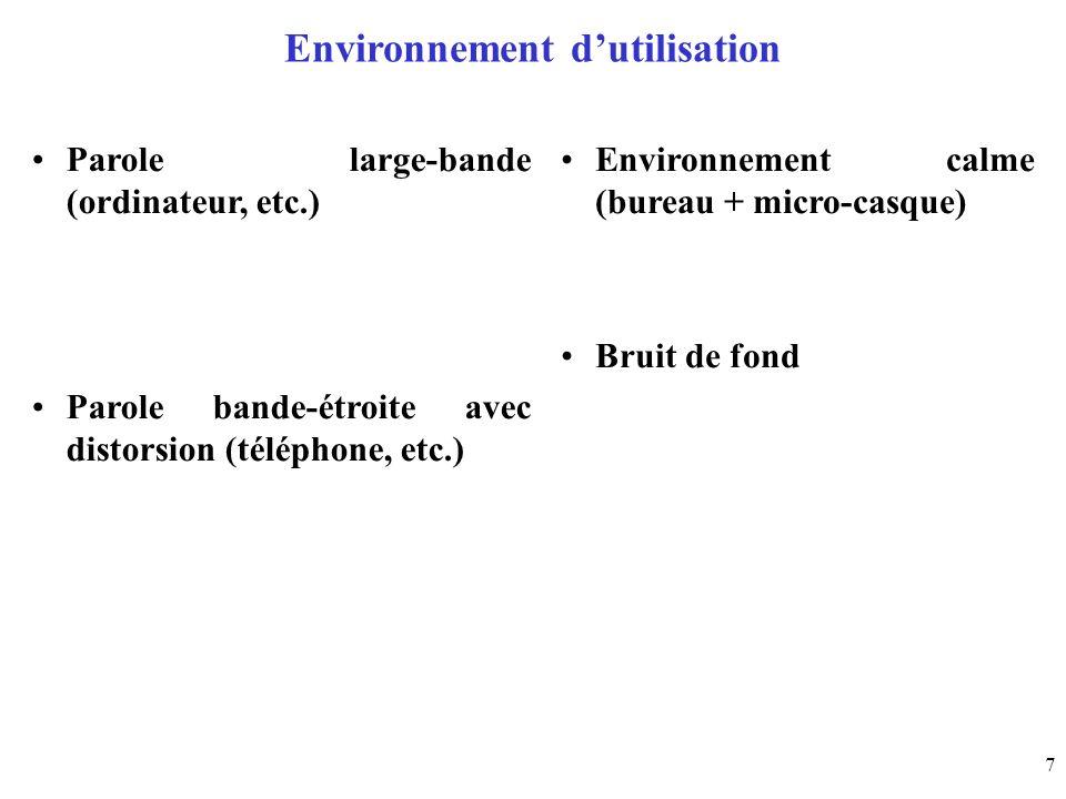 Environnement d'utilisation