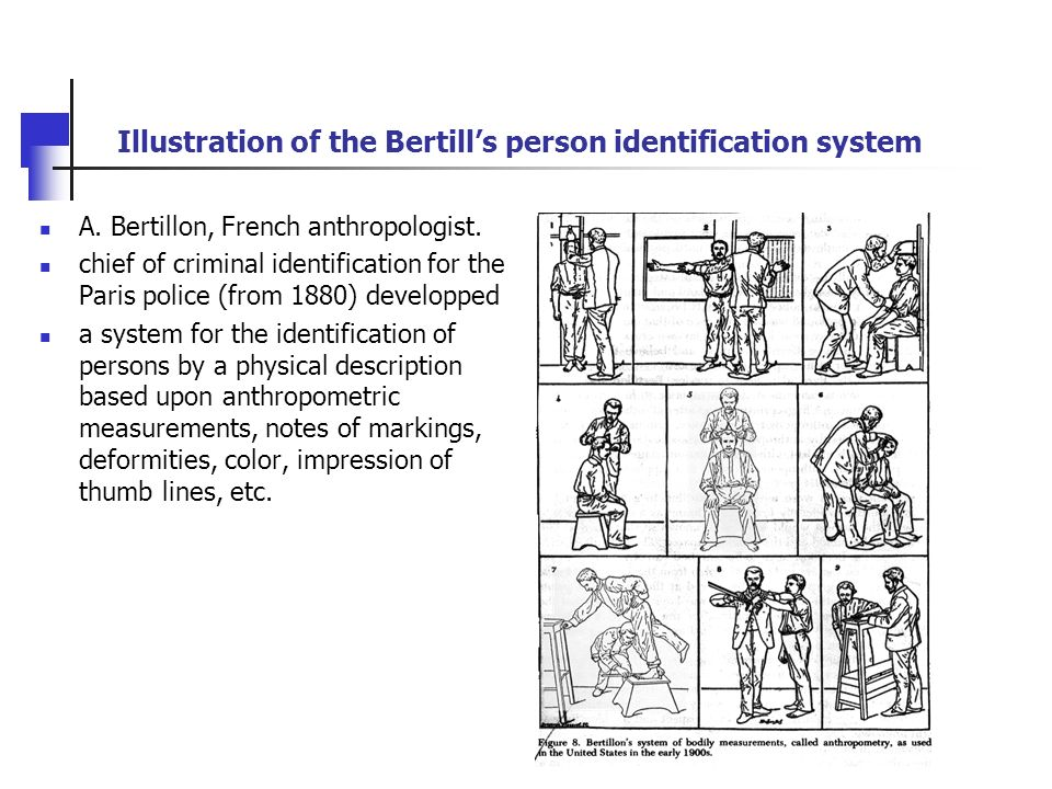 Illustration of the Bertill's person identification system