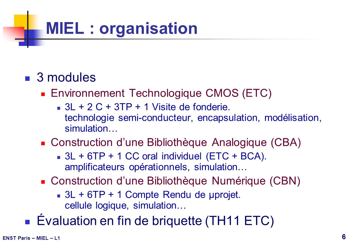 MIEL : organisation 3 modules