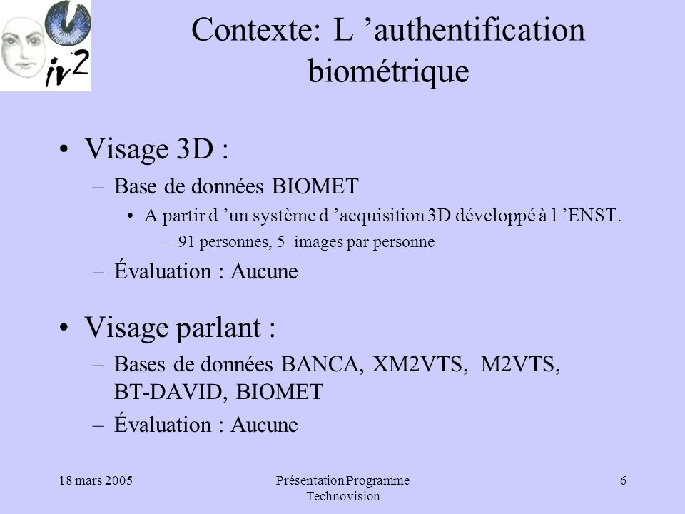 Contexte: L 'authentification biométrique