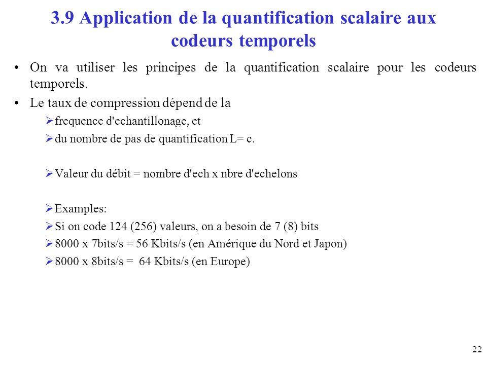 3.9 Application de la quantification scalaire aux codeurs temporels