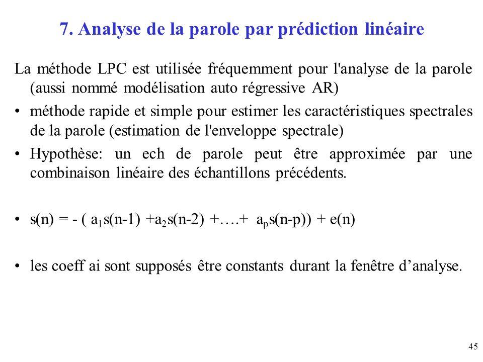 7. Analyse de la parole par prédiction linéaire