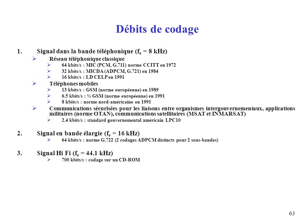 Débits de codage Signal dans la bande téléphonique (fe = 8 kHz)
