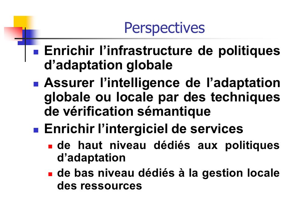 Perspectives Enrichir l'infrastructure de politiques d'adaptation globale.
