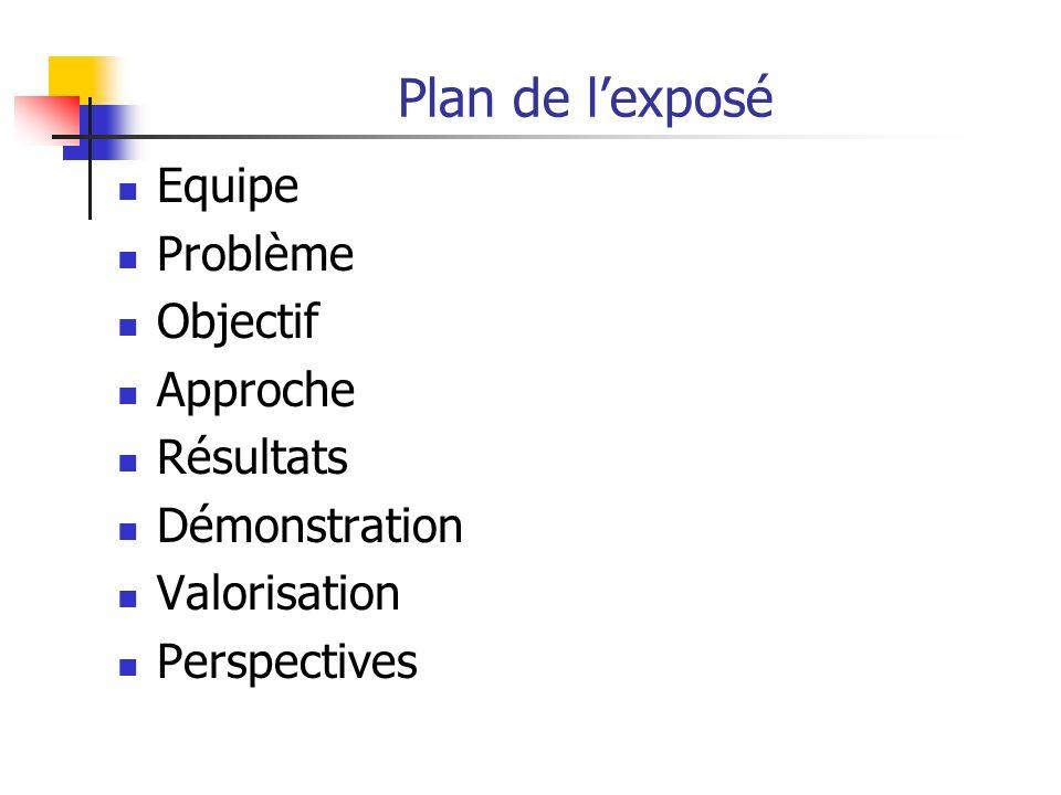Plan de l'exposé Equipe Problème Objectif Approche Résultats