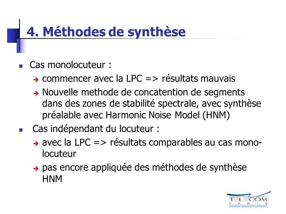 4. Méthodes de synthèse Cas monolocuteur :