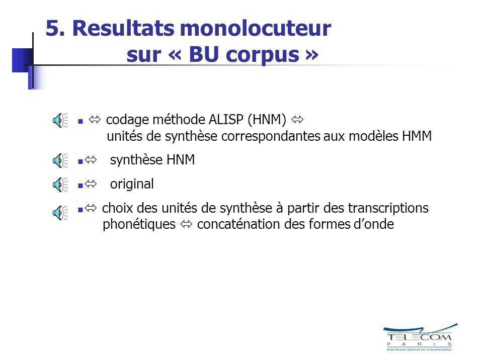 5. Resultats monolocuteur sur « BU corpus »