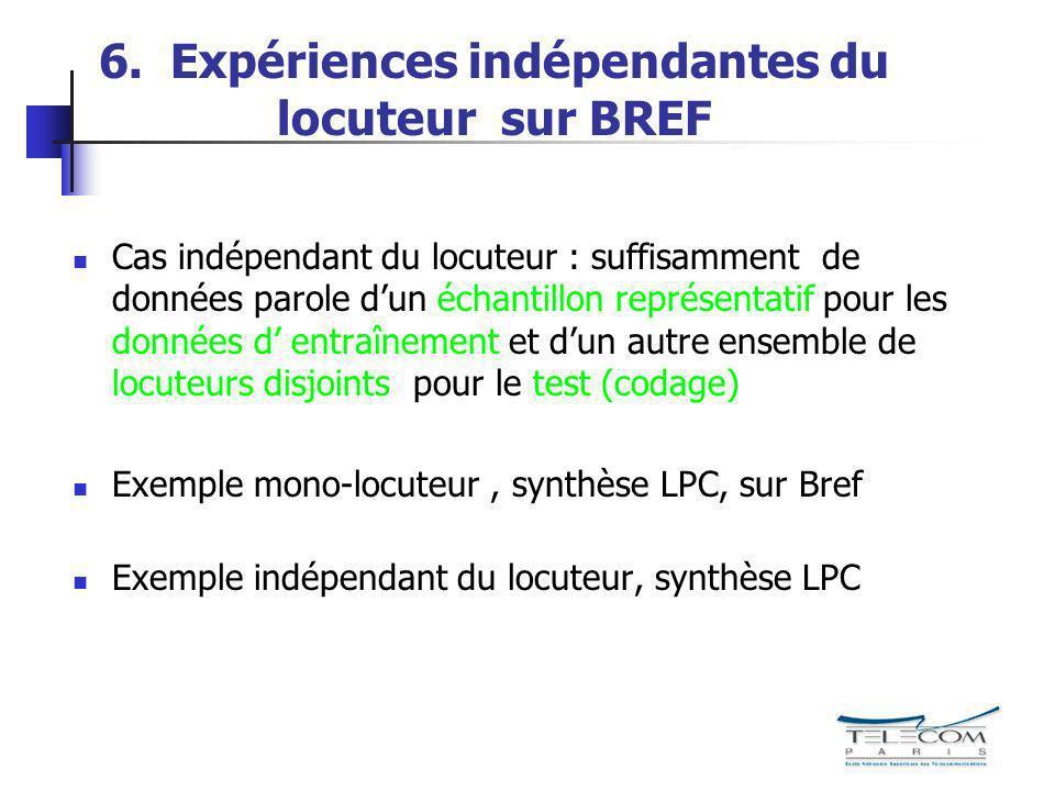 6. Expériences indépendantes du locuteur sur BREF