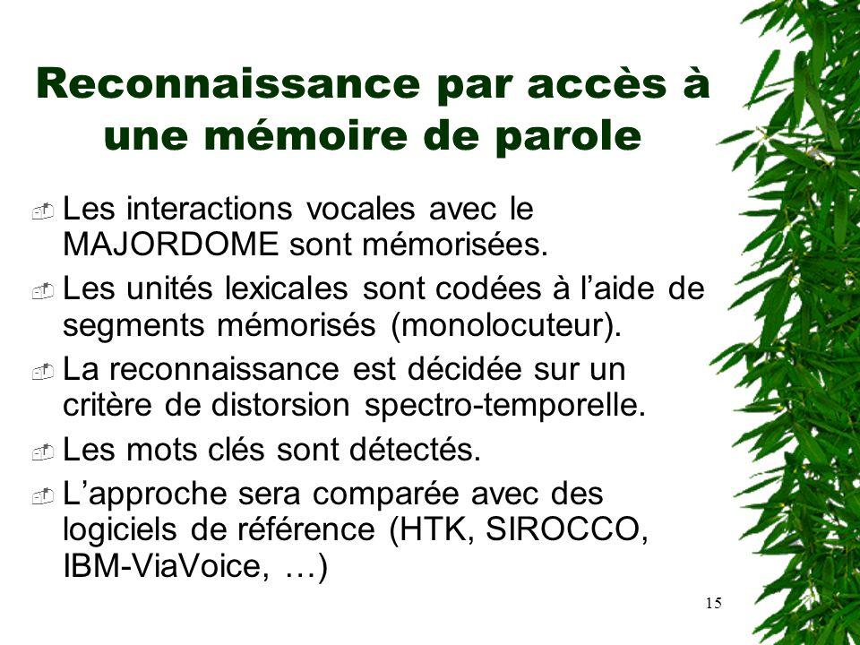Reconnaissance par accès à une mémoire de parole