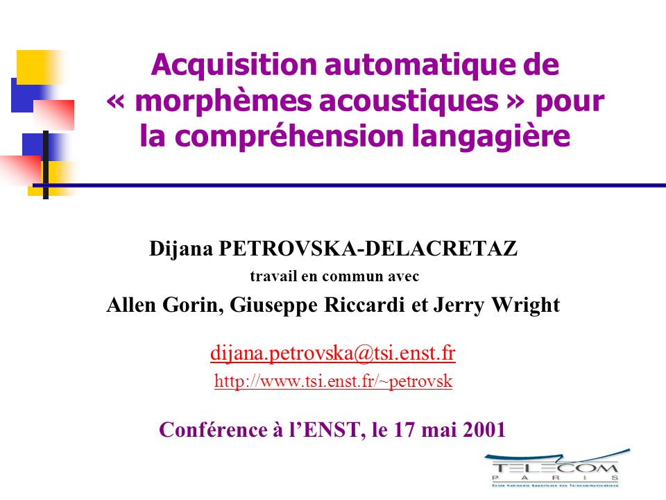 Acquisition automatique de « morphèmes acoustiques » pour la compréhension langagière
