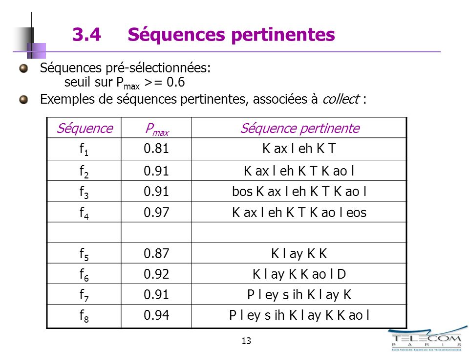 3.4 Séquences pertinentes