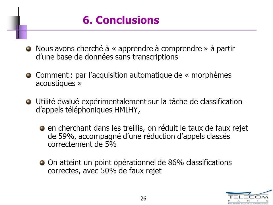 6. Conclusions Nous avons cherché à « apprendre à comprendre » à partir d'une base de données sans transcriptions.
