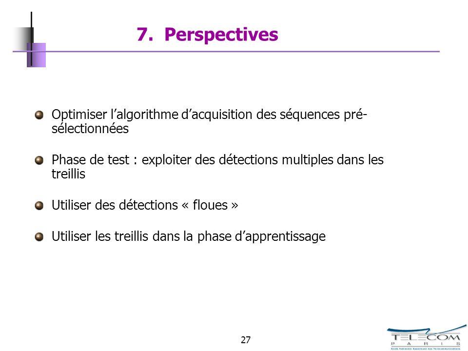 7. PerspectivesOptimiser l'algorithme d'acquisition des séquences pré-sélectionnées.