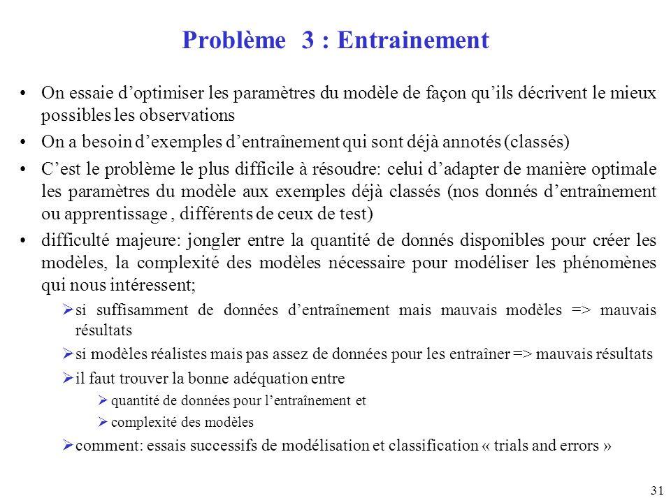 Problème 3 : Entrainement