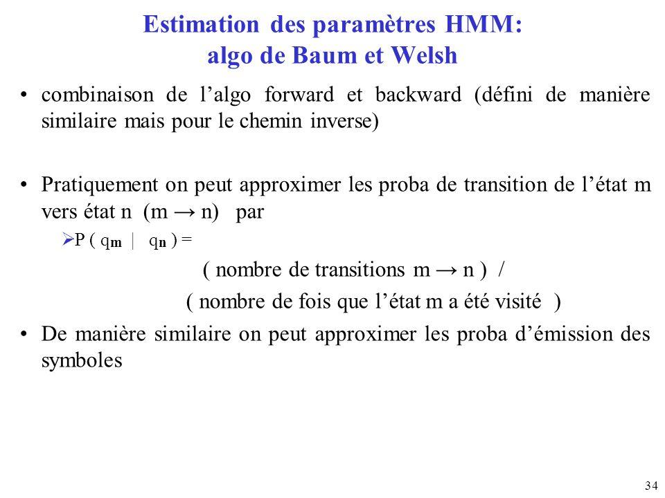 Estimation des paramètres HMM: algo de Baum et Welsh