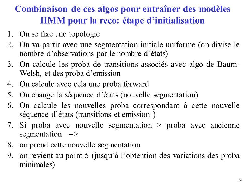 Combinaison de ces algos pour entraîner des modèles HMM pour la reco: étape d'initialisation