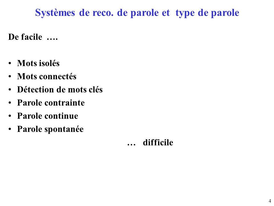 Systèmes de reco. de parole et type de parole