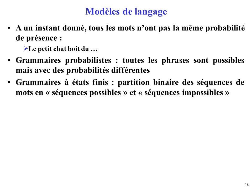 Modèles de langageA un instant donné, tous les mots n'ont pas la même probabilité de présence : Le petit chat boit du …