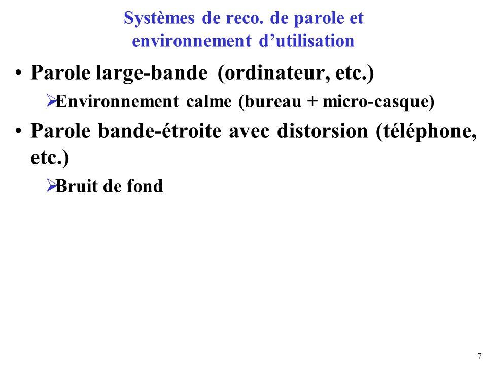 Systèmes de reco. de parole et environnement d'utilisation