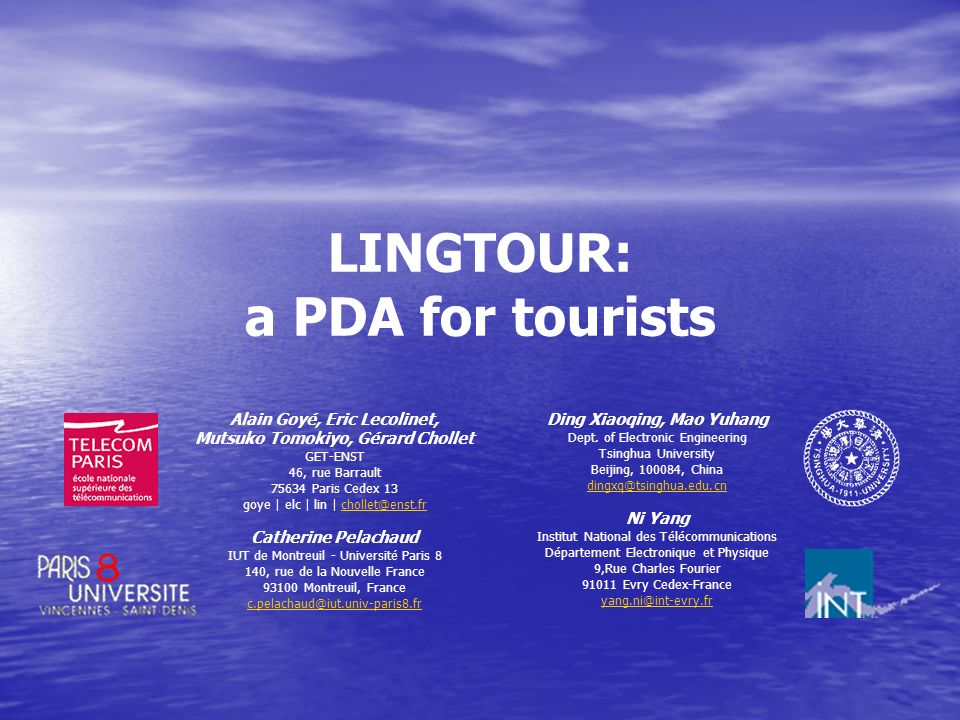 LINGTOUR: a PDA for tourists
