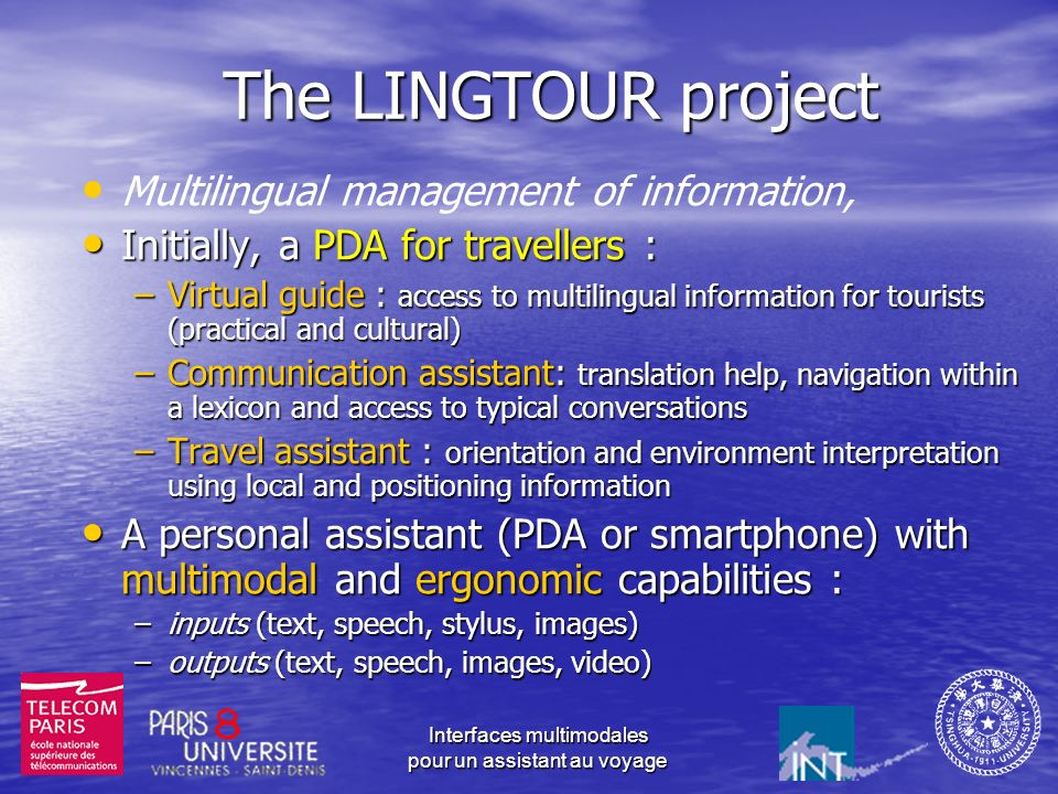 The LINGTOUR project Multilingual management of information,