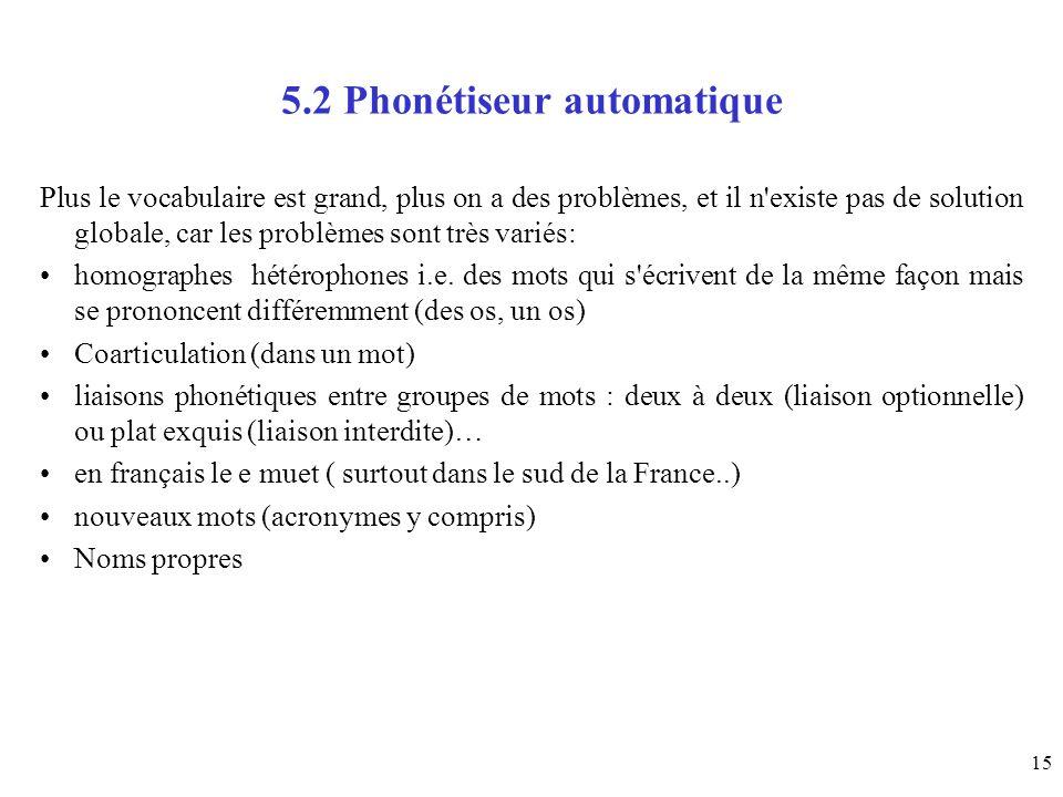 5.2 Phonétiseur automatique