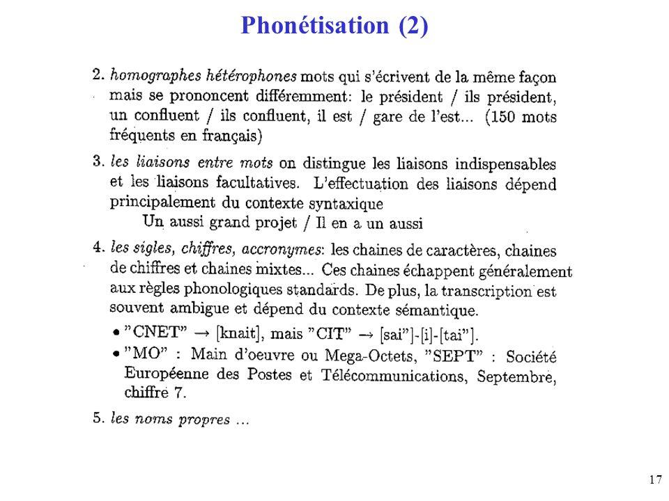 Phonétisation (2)