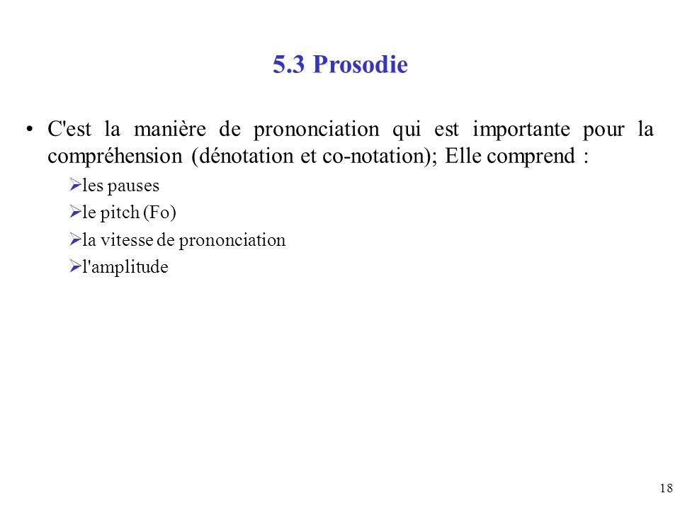 5.3 ProsodieC est la manière de prononciation qui est importante pour la compréhension (dénotation et co-notation); Elle comprend :