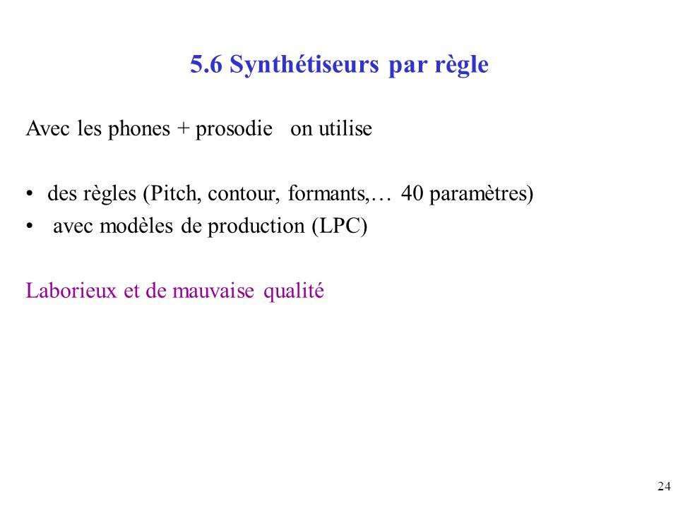 5.6 Synthétiseurs par règle