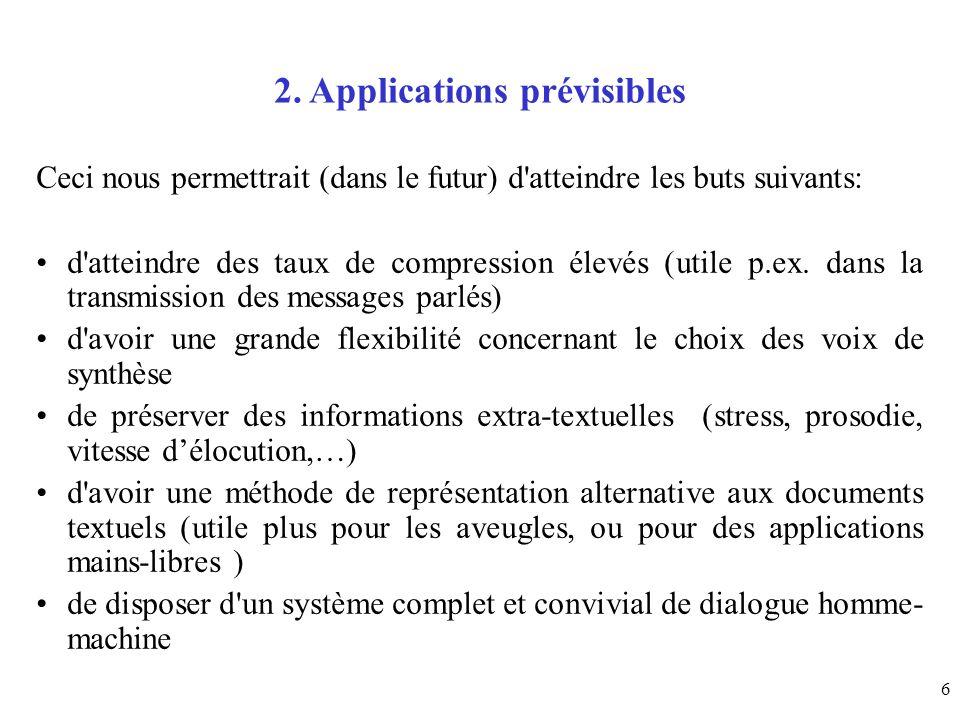 2. Applications prévisibles