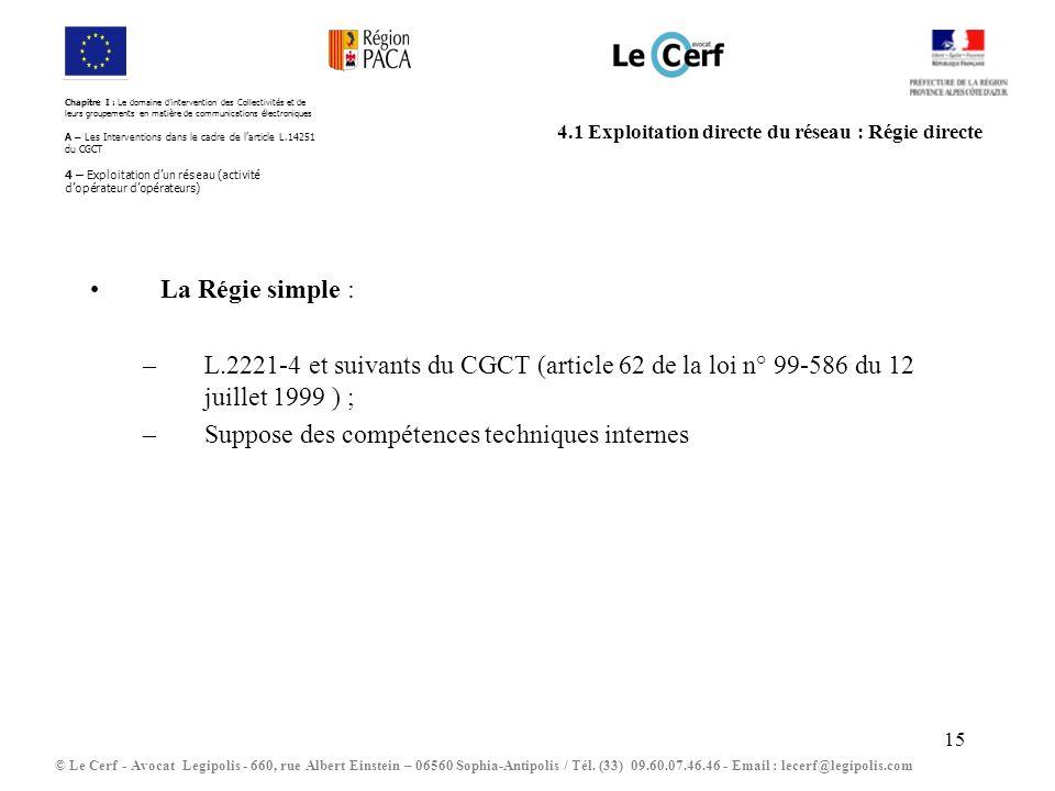 4.1 Exploitation directe du réseau : Régie directe