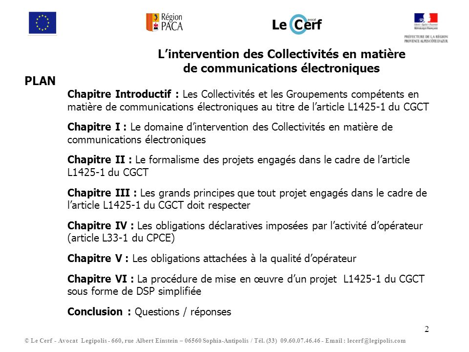 L'intervention des Collectivités en matière de communications électroniques
