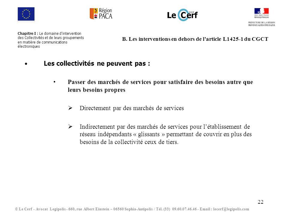 B. Les interventions en dehors de l'article L1425-1 du CGCT